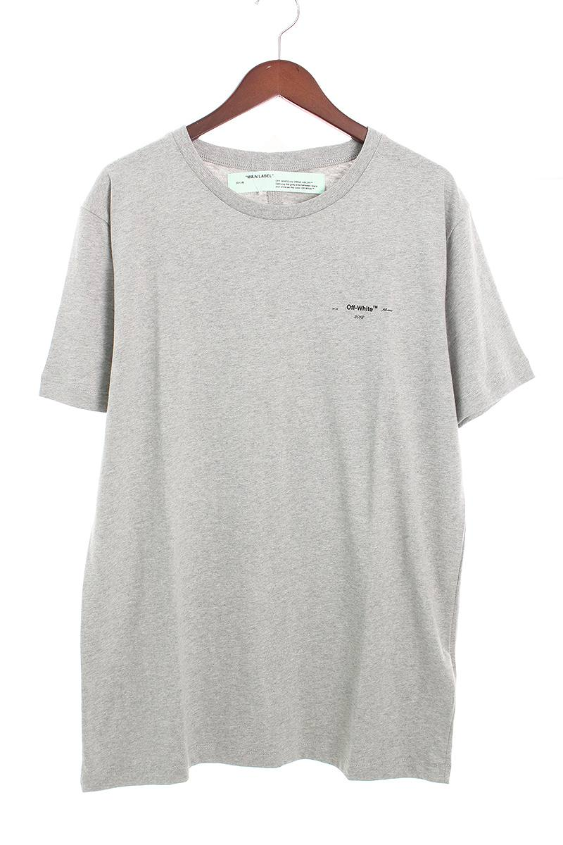 オフホワイト/OFF-WHITE 【18AW】【ARROWS S/S SLIM】バックアロープリントTシャツ(L/グレー×イエロー)【FK04】【メンズ】【108081】【中古】bb92#rinkan*S