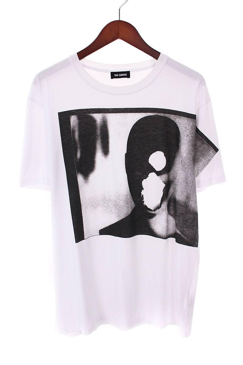 ラフシモンズ/RAF SIMONS 【18SS】【Dollhead Slim Fit Tee】グラフィックプリントTシャツ(L/ホワイト×ブラック)【SB01】【メンズ】【608081】【中古】bb33#rinkan*B