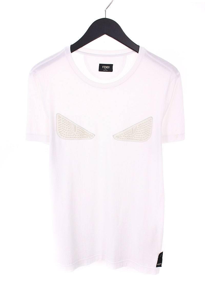 フェンディ/FENDI 【FY0626 OKM】スタッズ装飾モンスターアイTシャツ(46/ホワイト)【BS99】【メンズ】【808081】【中古】[5倍]bb210#rinkan*C