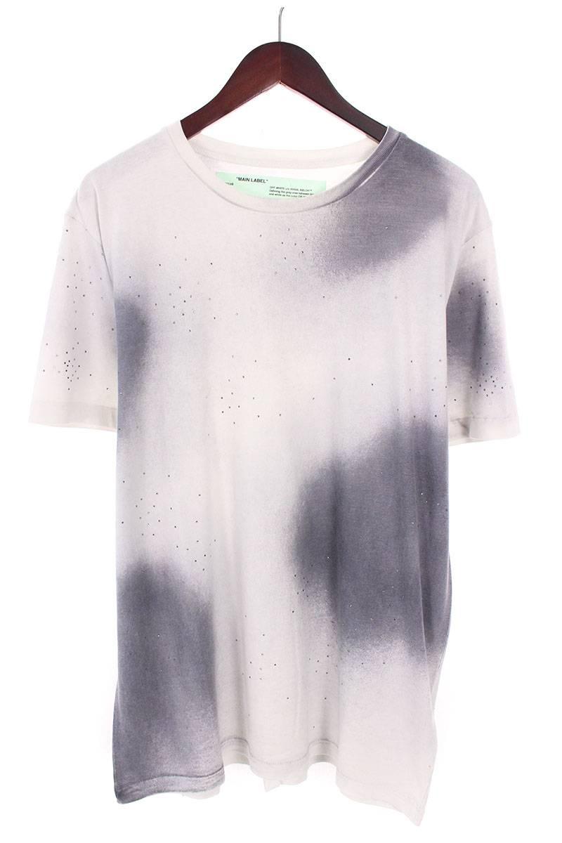 オフホワイト/OFF-WHITE 【18AW】【SPRAY S/S T-SHIRT】バックアロープリントオーバーサイズTシャツ(M/グレー×ホワイト)【OM10】【メンズ】【828081】【新古品】bb20#rinkan*N