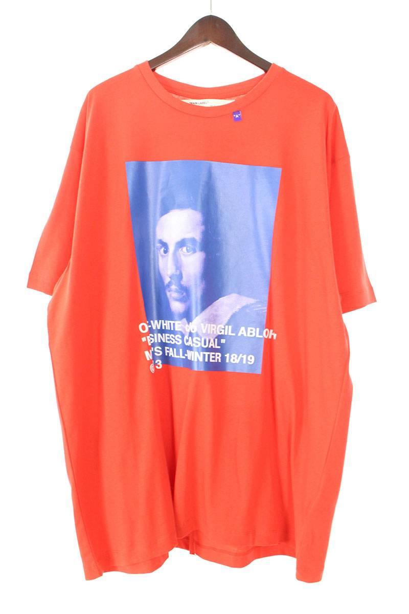 オフホワイト/OFF-WHITE 【18AW】【BERNINI S/S T-SHIRT】ベルニーニプリントオーバーサイズTシャツ(L/レッド×ブルー)【HJ12】【メンズ】【828081】【新古品】bb20#rinkan*N