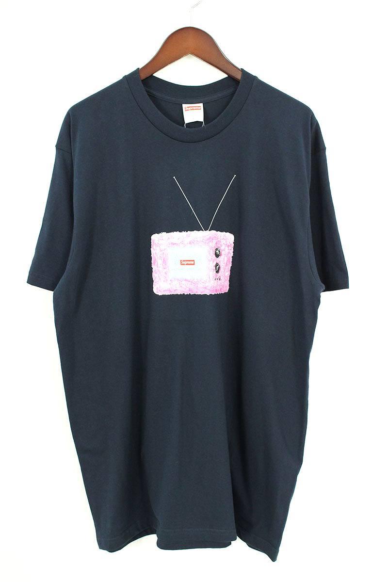 シュプリーム/SUPREME 【18SS】【TV Tee】ティーヴィープリントTシャツ(L/ネイビー)【FK04】【メンズ】【409081】【中古】【P】[5倍]bb154#rinkan*S