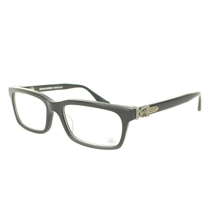 クロムハーツ/Chrome Hearts 【RUMPLEFORESKIN-A】ダガーテンプルスクエア型眼鏡(ブラック)【NO05】【小物】【309081】【中古】bb33#rinkan*B
