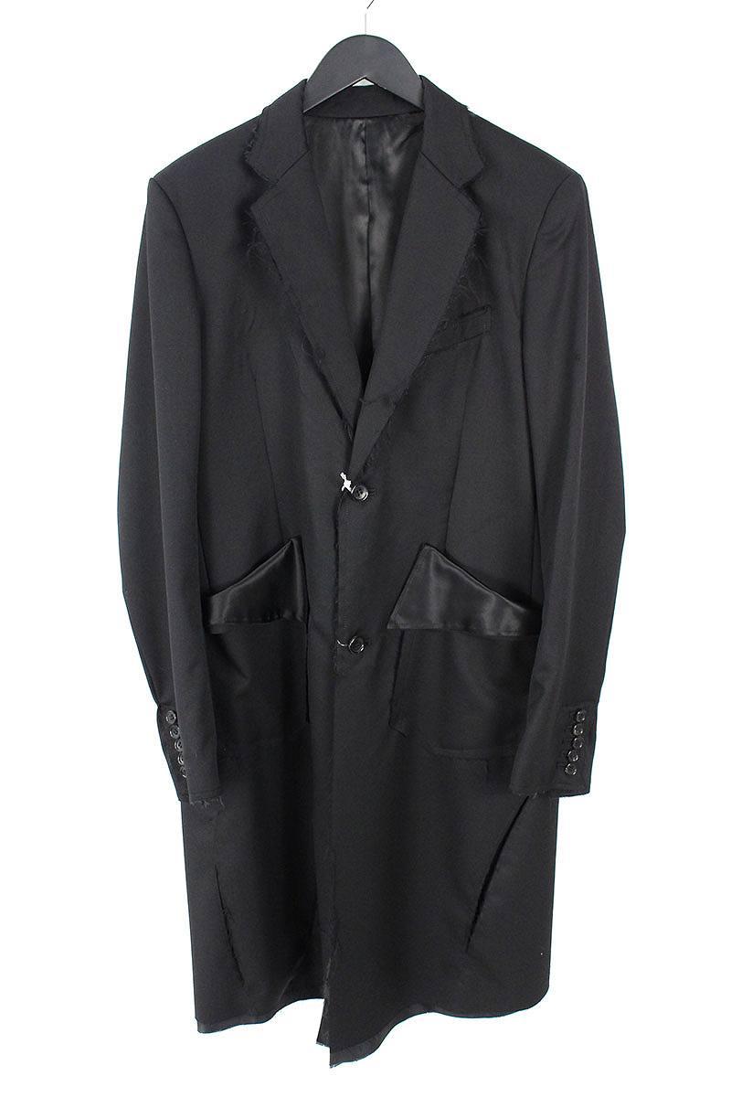 サルバム/sulvam 【18AW】【SI-J02-100】切りっ放しデザインロングジャケットコート(M/ブラック)【BS99】【メンズ】【304002】【中古】bb99#rinkan*S