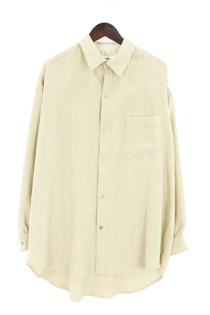 サルバム/sulvam 【18AW】【SI-B04-010】胸ポケットオーバーサイズロングスリーブウールシャツ(M/ベージュ)【BS99】【メンズ】【304002】【中古】bb99#rinkan*S