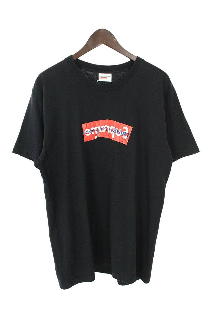 シュプリーム/SUPREME ×コムデギャルソンシャツ/COMME des GARCONS SHIRT 【17SS】【Box Logo Tee】ペーパーアートボックスロゴTシャツ(L/ブラック)【SB01】【メンズ】【609081】【中古】bb131#rinkan*B
