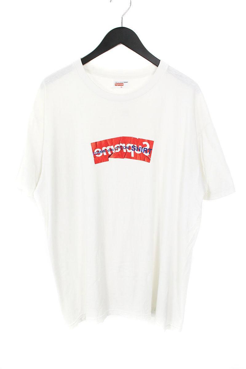 シュプリーム/SUPREME ×コムデギャルソンシャツ/COMME des GARCONS SHIRT 【17SS】【Box Logo Tee】ペーパーアートボックスロゴTシャツ(XL/ホワイト)【NO05】【メンズ】【709081】【中古】bb24#rinkan*B