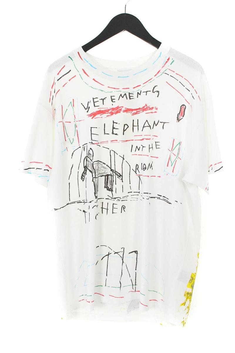 ヴェトモン/VETEMENTS 【18AW】【Elephant Marta Tee】ペイントデザインTシャツ(S/ホワイト調)【SJ02】【メンズ】【019081】【中古】bb99#rinkan*S