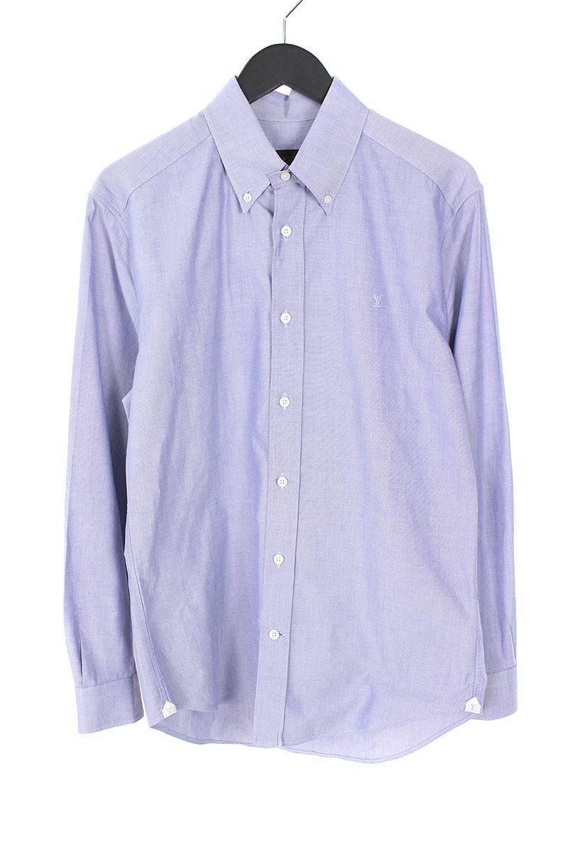 ルイヴィトン/LOUISVUITTON 【14SS】LVロゴ刺繍BDシャツ(S/ブルー)【SB01】【メンズ】【319081】【中古】bb147#rinkan*B