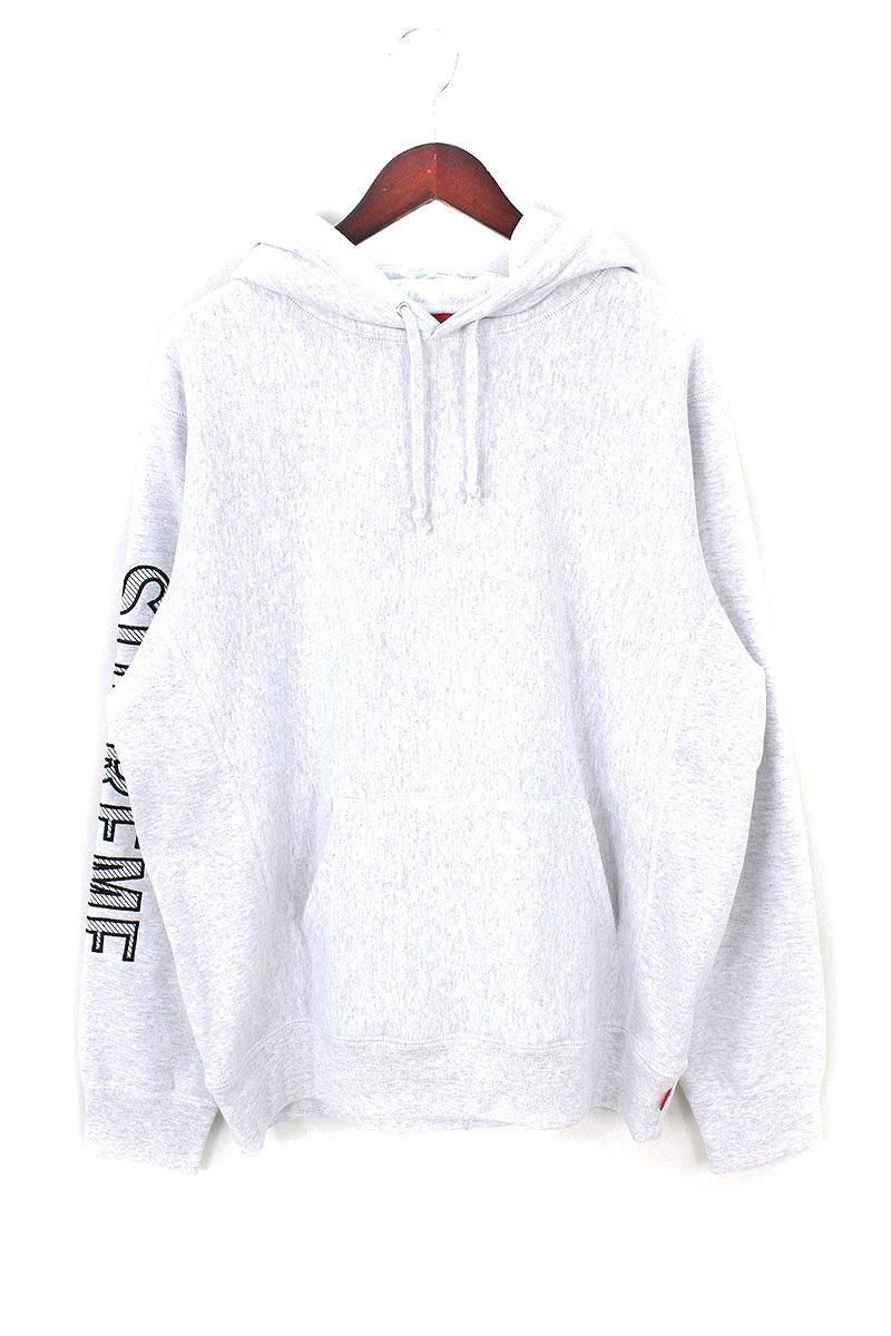 シュプリーム/SUPREME 【18SS】【Sleeve Embroidery Hooded Sweatshirt】袖ロゴパーカー(M/ライトグレー)【HJ12】【メンズ】【419081】【中古】bb157#rinkan*B