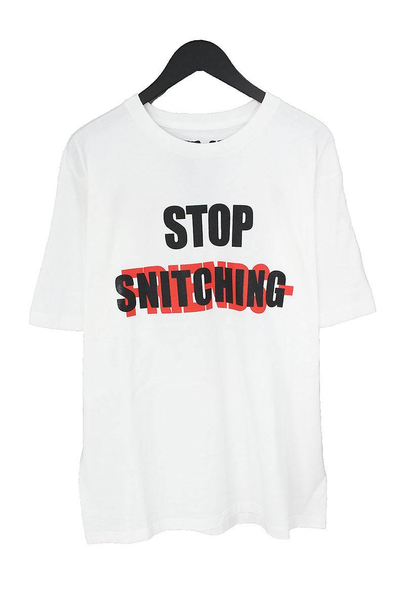 ヴィーロン/VLONE 【18AW】【STOP SNITCHING FRIENDS TEE】ロゴプリントTシャツ(L/ホワイト×レッド×ブラック)【FK04】【メンズ】【919081】【中古】bb81#rinkan*S