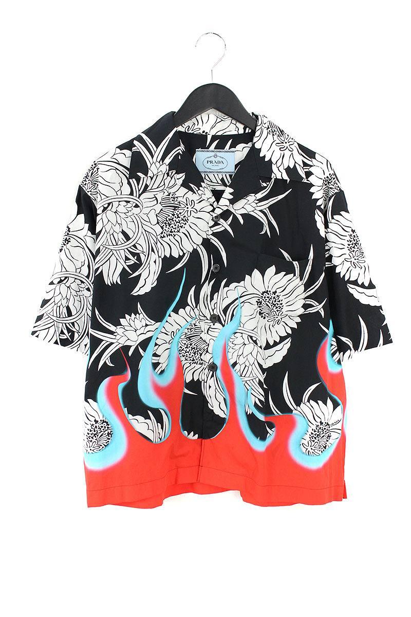 プラダ/PRADA 【18AW】【Poplin Dahlia Flame Shirt UCS318】フローラルフレームプリントコットン半袖シャツ(M/ブラック×ホワイト×レッド)【HJ12】【メンズ】【919081】【中古】bb18#rinkan*A