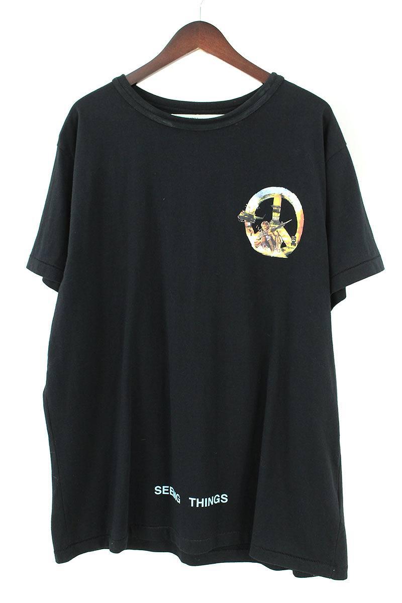 オフホワイト/OFF-WHITE 【17AW】【omaa02f17185063】ピースマークプリントTシャツ(L/ブラック)【HJ12】【メンズ】【819081】【中古】[5倍]bb15#rinkan*B