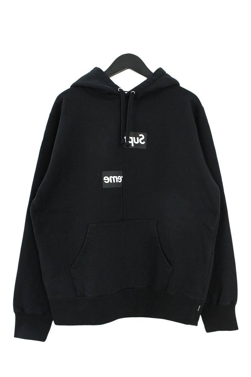シュプリーム/SUPREME ×コムデギャルソンシャツ/COMME des GARCONS SHIRT 【18AW】【Split Box Logo Hooded Sweatshirt】スプリットボックスロゴパーカー(M/ブラック)【FK04】【メンズ】【529081】【中古】bb204#rinkan*S