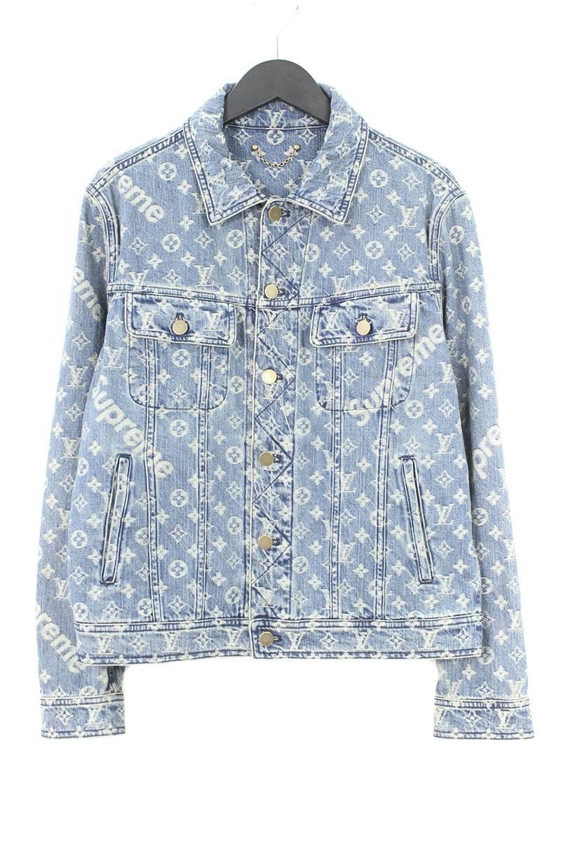 ac3250bbb シュプリーム /SUPREME X Louis Vuitton /LOUISVUITTON jacquard denim jacket (46/  indigo) bb82#rinkan*A