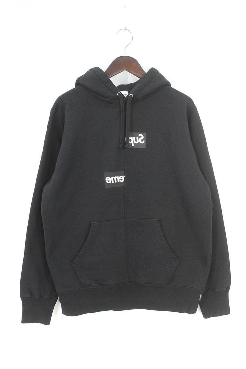 シュプリーム/SUPREME ×コムデギャルソンシャツ/COMME des GARCONS SHIRT 【18AW】【Split Box Logo Hooded Sweatshirt】スプリットボックスロゴパーカー(S/ブラック)【HJ12】【メンズ】【329081】【中古】bb182#rinkan*S
