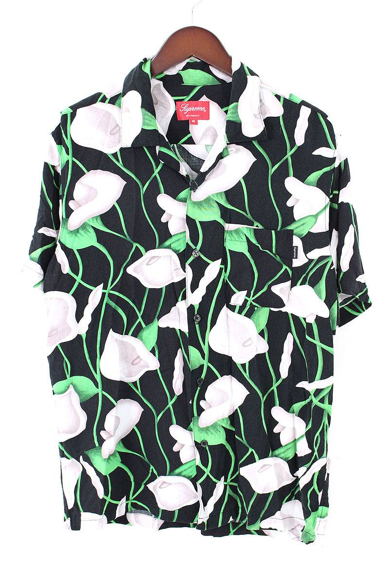 シュプリーム/SUPREME 【18SS】【Lily Rayon Shirt】リリーレーヨン半袖シャツ(M/ブラック×グリーン)【SB01】【メンズ】【629081】【中古】bb33#rinkan*A