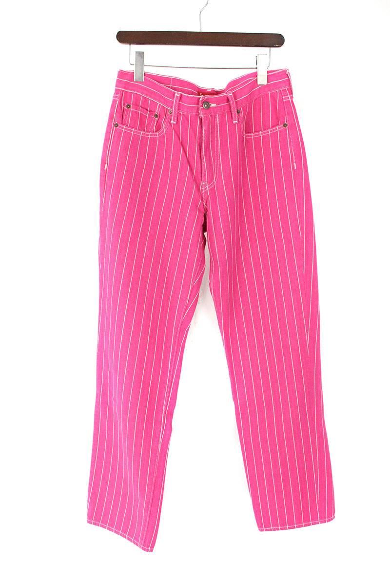 シュプリーム/SUPREME ×リーバイス/LEVI'S 【18SS】【Pinstripe 550 Jean】ピンストライプデニムパンツ(30インチ/ピンク)【SB01】【メンズ】【100181】【中古】[5倍][5倍]bb51#rinkan*A