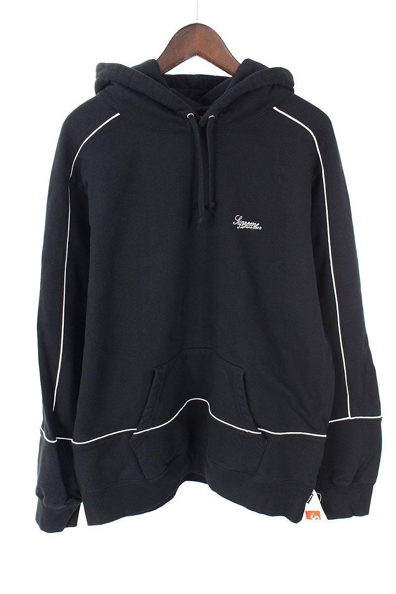 シュプリーム/SUPREME 【18aw】【piping hooded sweatshirt】パイピングロゴ刺繍プルオーバーパーカー(L/ブラック)【OM10】【メンズ】【200181】【中古】[5倍]bb33#rinkan*S