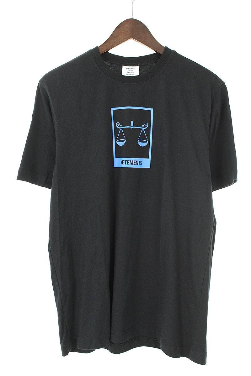 ヴェトモン/VETEMENTS 【18AW】【UAH19TR303】ロゴプリントTシャツ(S/ブラック×ブルー)【SB01】【メンズ】【300181】【中古】[5倍]bb212#rinkan*B