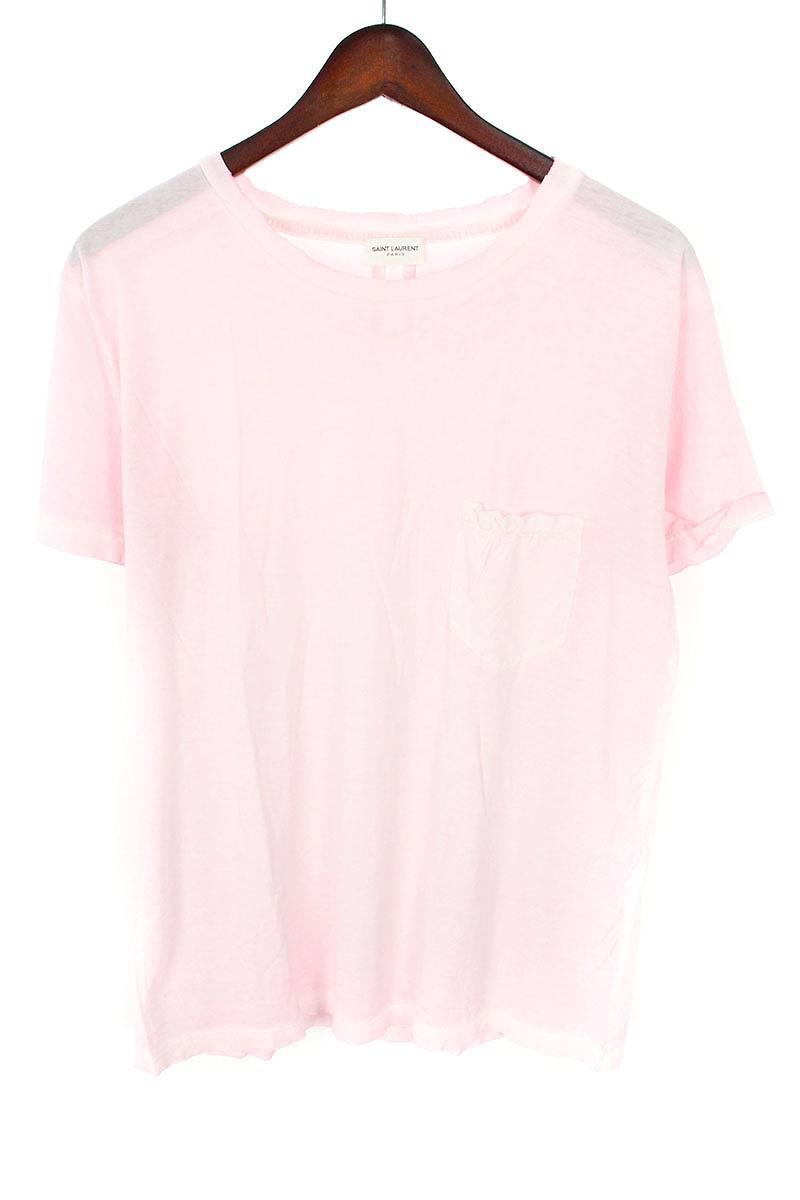 サンローランパリ/SAINT LAURENT PARIS 【17SS】【454178】ダメージ加工胸ポケットTシャツ(M/ピンク)【SB01】【メンズ】【400181】【中古】[5倍]bb14#rinkan*A