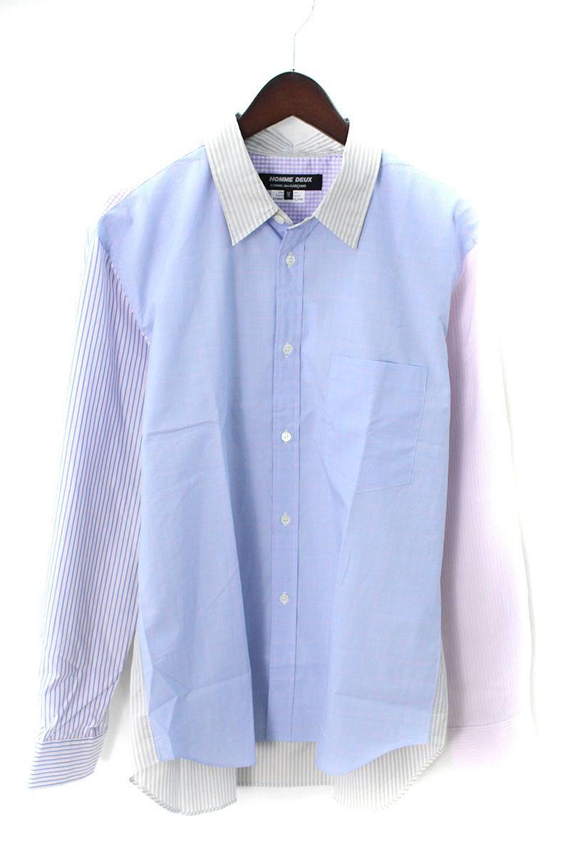 コムデギャルソンオムドゥ/COMME des GARCONS HOMME DEUX 【18AW】AD2018チェックストライプ切替胸ポケットシャツ(M/ブルー×ピンク×ブラウン)【BS99】【メンズ】【900181】【中古】bb14#rinkan*A