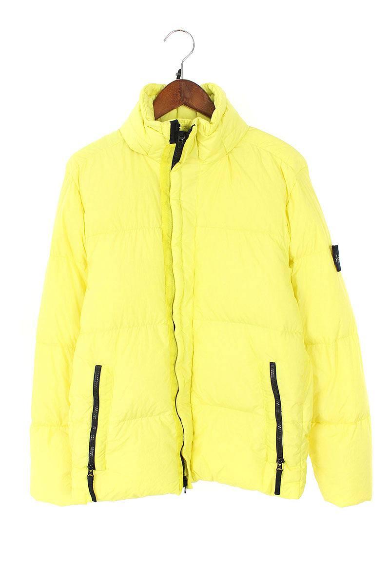 ストーンアイランド/STONEISLAND 【Garment Dyed Crinkle Reps NY Down Jacket】スリーブワッペンナイロンダウンジャケット(M/イエロー)【SJ02】【メンズ】【900181】【中古】bb14#rinkan*A