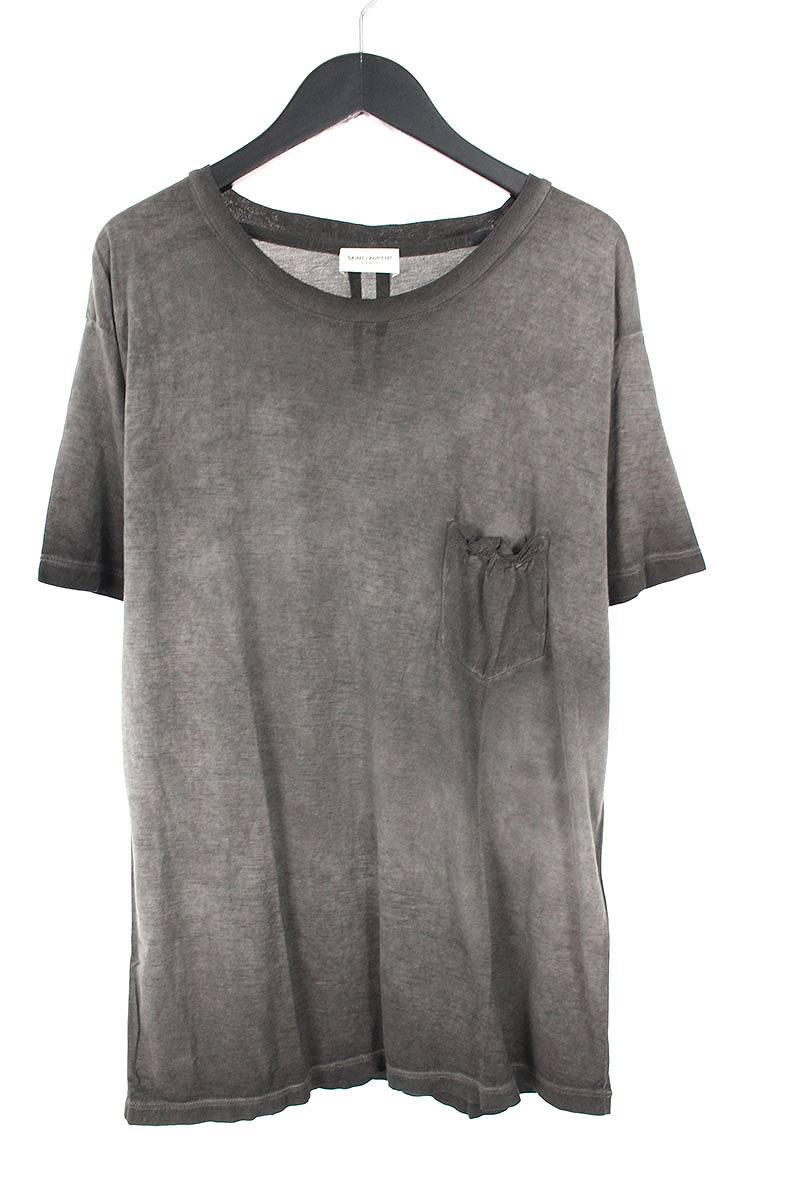 サンローランパリ/SAINT LAURENT PARIS 【454153】ガーメントダイ胸ポケットTシャツ(M/グレー調)【BS99】【メンズ】【510181】【中古】[5倍]bb14#rinkan*A