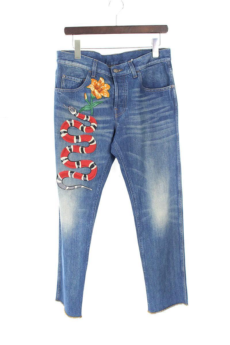 グッチ/GUCCI 【16AW】【 Snake Embroidery Denim Pants 430356 XR190】スネークエンブロイダリーアップリケテーパードデニムパンツ(34/インディゴ)【SB01】【メンズ】【900181】【中古】[5倍][5倍]bb154#rinkan*A