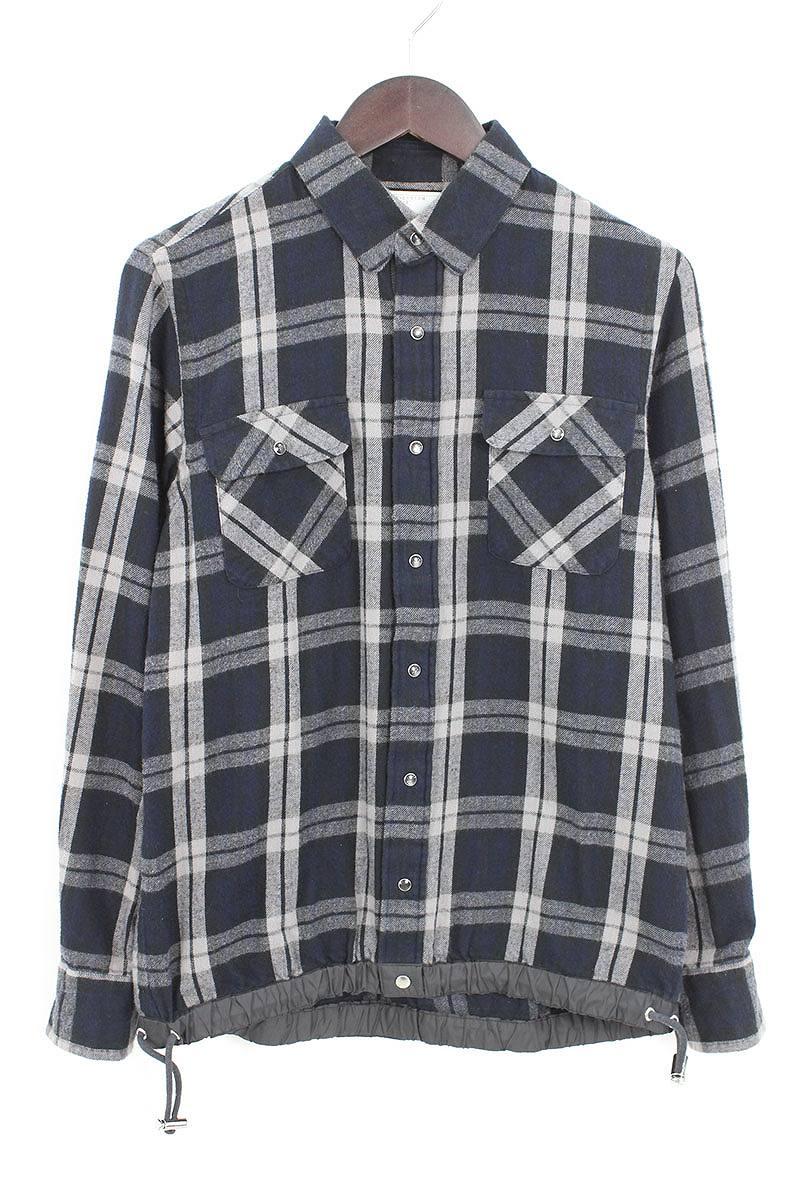 サカイ/Sacai 裾ドローコードチェックシャツ(1/ブラック×グレー)【BS99】【メンズ】【101181】【中古】bb14#rinkan*B