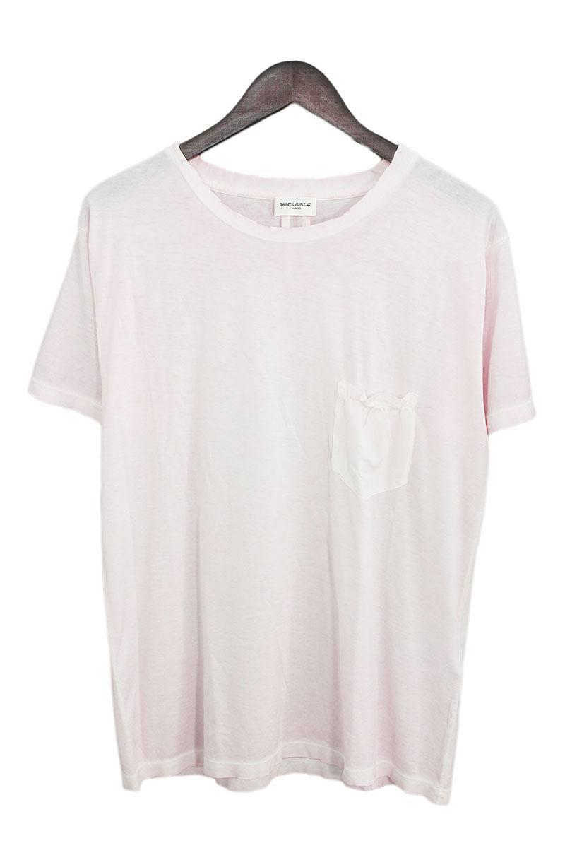 サンローランパリ/SAINT LAURENT PARIS 【454178】ダメージ加工後染めポケットTシャツ(M/ピンク調)【BS99】【メンズ】【101181】【中古】[5倍]bb14#rinkan*A