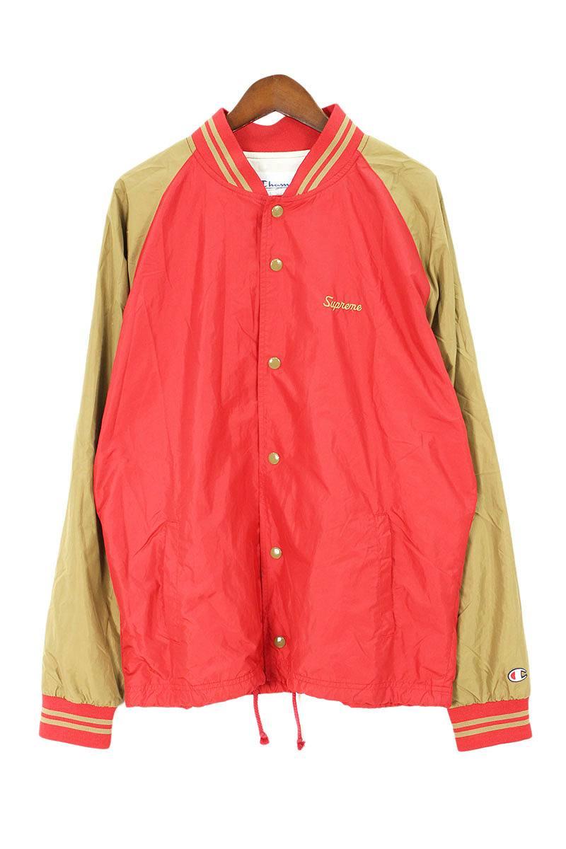 シュプリーム/SUPREME ×チャンピオン/Champion  【11SS】【Warm Up Jacket】ウォームアップジャケット(M/レッド×カーキ)【OM10】【メンズ】【110181】【中古】bb185#rinkan*B