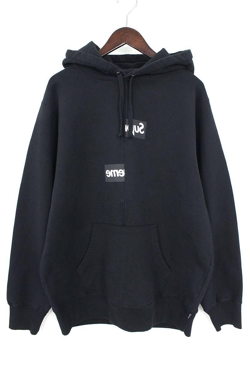 シュプリーム/SUPREME ×コムデギャルソンシャツ/COMME des GARCONS SHIRT 【18AW】【Split Box Logo Hooded Sweatshirt】スプリットボックスロゴパーカー(L/ブラック)【SB01】【メンズ】【110181】【中古】bb154#rinkan*S
