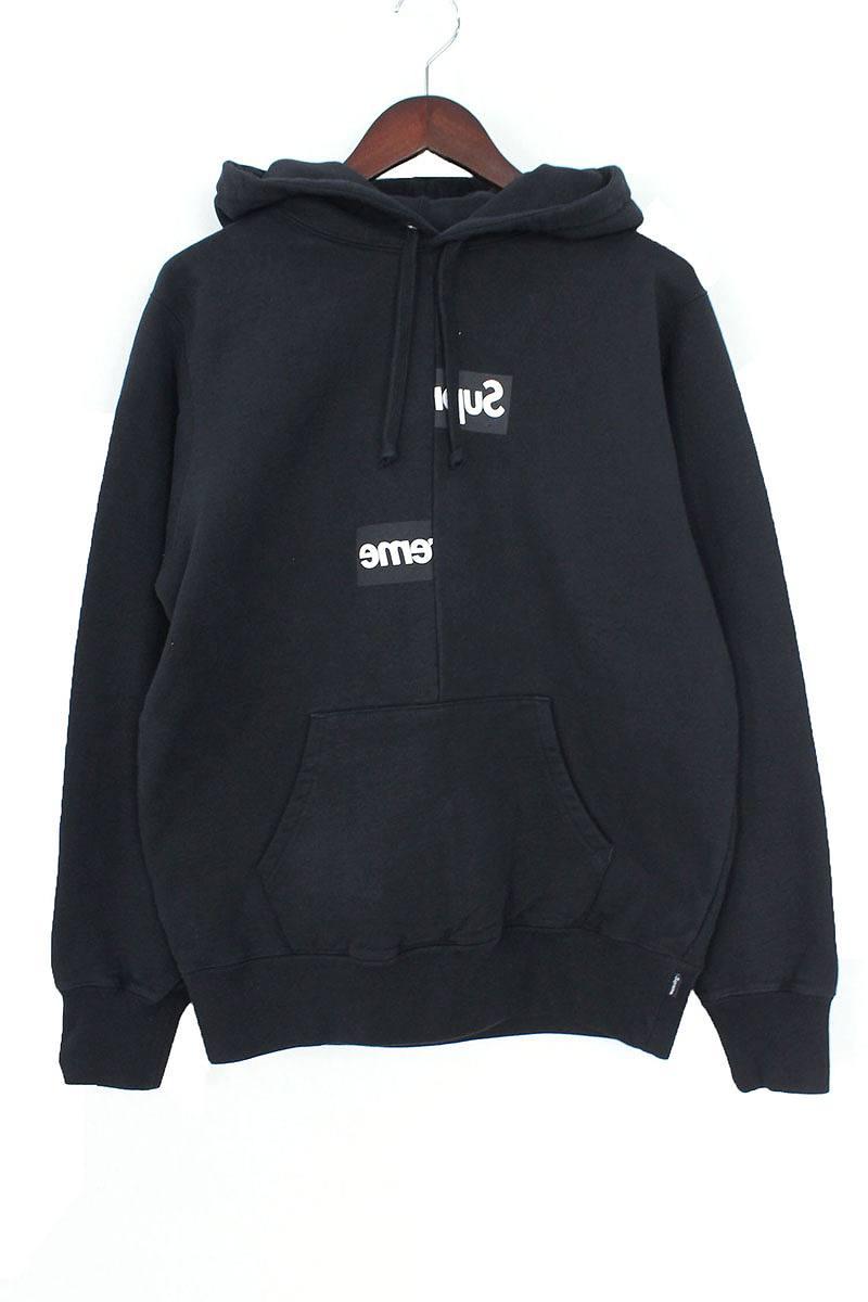 シュプリーム/SUPREME ×コムデギャルソンシャツ/COMME des GARCONS SHIRT 【18AW】【Split Box Logo Hooded Sweatshirt】スプリットボックスロゴパーカー(S/ブラック)【SB01】【メンズ】【110181】【中古】bb154#rinkan*S