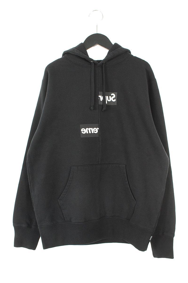 シュプリーム/SUPREME ×コムデギャルソンシャツ/COMME des GARCONS SHIRT 【18AW】【Split Box Logo Hooded Sweatshirt】スプリットボックスロゴパーカー(S/ブラック)【OM10】【メンズ】【210181】【中古】bb154#rinkan*S