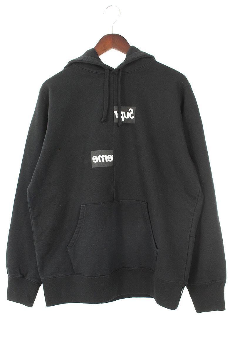 シュプリーム/SUPREME ×コムデギャルソンシャツ/COMME des GARCONS SHIRT 【18AW】【Split Box Logo Hooded Sweatshirt】スプリットボックスロゴパーカー(S/ブラック)【HJ12】【メンズ】【110181】【中古】bb154#rinkan*S