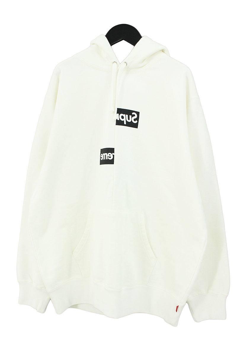 シュプリーム/SUPREME ×コムデギャルソンシャツ/COMME des GARCONS SHIRT 【18AW】【Split Box Logo Hooded Sweatshirt】スプリットボックスロゴパーカー(L/ホワイト)【OM10】【メンズ】【110181】【中古】bb185#rinkan*S