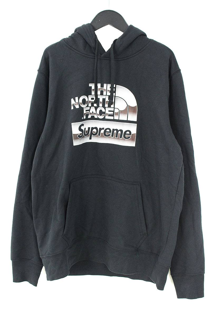 シュプリーム/SUPREME ×ノースフェイス/THE NORTH FACE 【18SS】【Metallic Logo Hooded Sweatshirt】メタリックロゴプルオーバーパーカー(M/ブラック)【OM10】【メンズ】【110181】【中古】bb76#rinkan*B