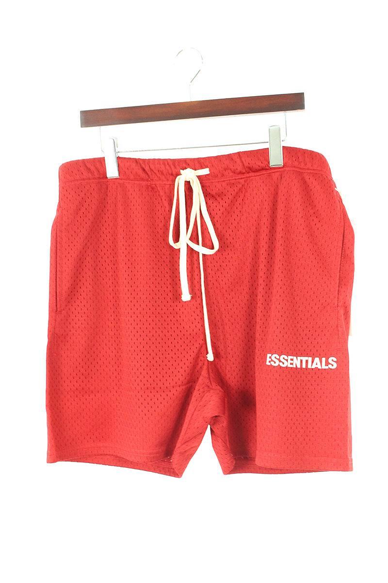 フォグ/FOG 【18AW】【ESSENTIALS Graphic Mesh Drawstring Shorts】ドローコードメッシュハーフパンツ(L/レッド)【OM10】【メンズ】【210181】【中古】[5倍][5倍]bb131#rinkan*S