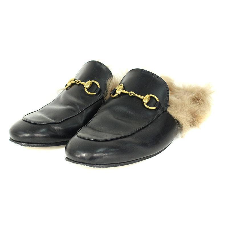 グッチ/GUCCI 【18AW】【Prince Town Slippers】ホースビットレザーサンダル(7/ブラック×ベージュ)【OM10】【メンズ】【小物】【210181】【中古】bb76#rinkan*B