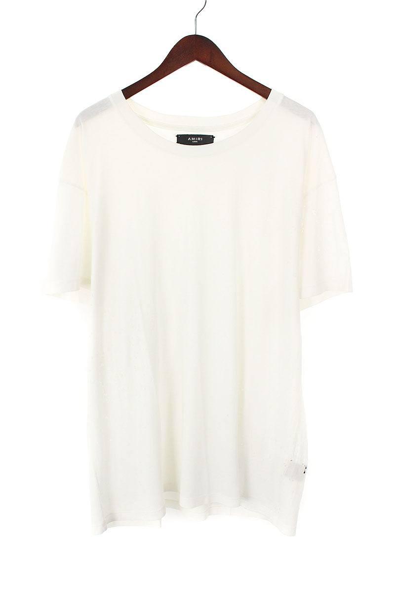 アミリ/AMIRI 【SHOTGUN T-SHIRT】ショットガンダメージ加工Tシャツ(L/ホワイト)【HJ12】【メンズ】【610181】【中古】[5倍]bb81#rinkan*A