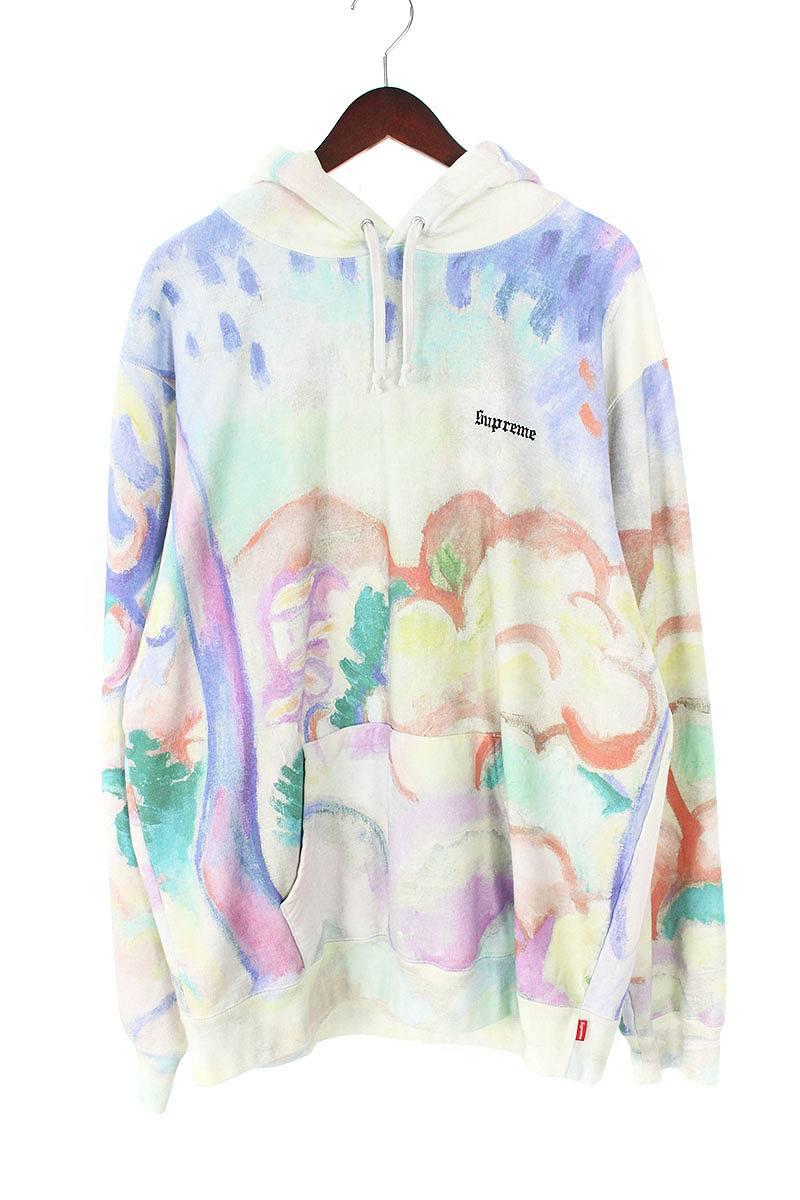 シュプリーム/SUPREME 【18SS】【Landscape Hooded Sweatshirt】ランドスケーププルオーバーパーカー(XL/ホワイト調×ブルー調)【FK04】【メンズ】【610181】【中古】[5倍]bb81#rinkan*B