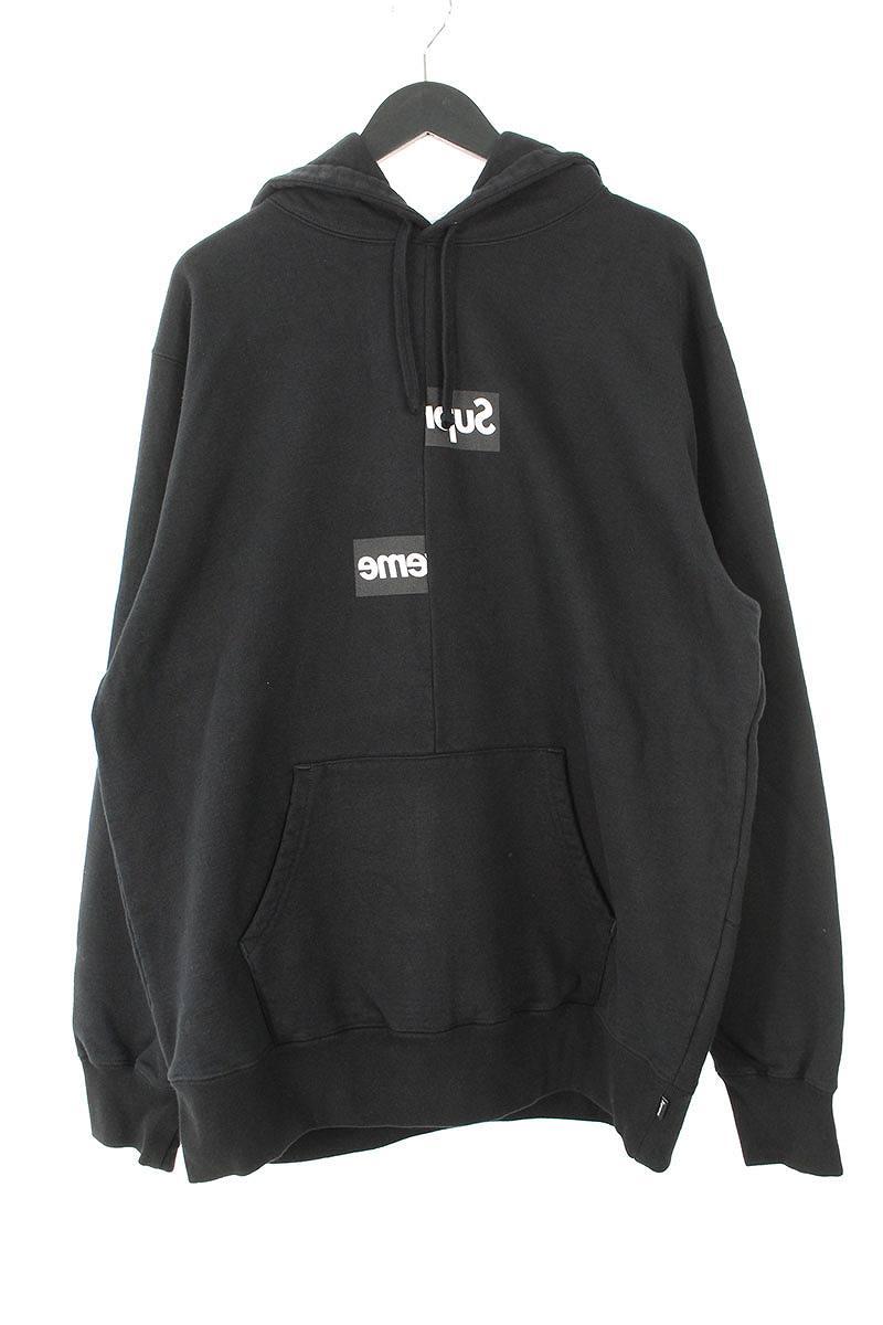 シュプリーム/SUPREME ×コムデギャルソンシャツ/COMME des GARCONS SHIRT 【18AW】【Split Box Logo Hooded Sweatshirt】スプリットボックスロゴパーカー(XL/ブラック)【OM10】【メンズ】【210181】【中古】bb154#rinkan*S