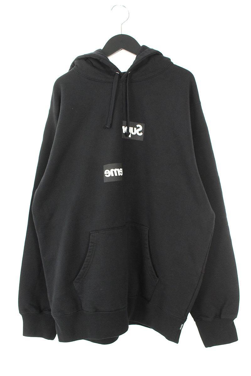 シュプリーム/SUPREME ×コムデギャルソンシャツ/COMME des GARCONS SHIRT 【18AW】【Split Box Logo Hooded Sweatshirt】スプリットボックスロゴパーカー(L/ブラック)【OM10】【メンズ】【210181】【中古】bb154#rinkan*S