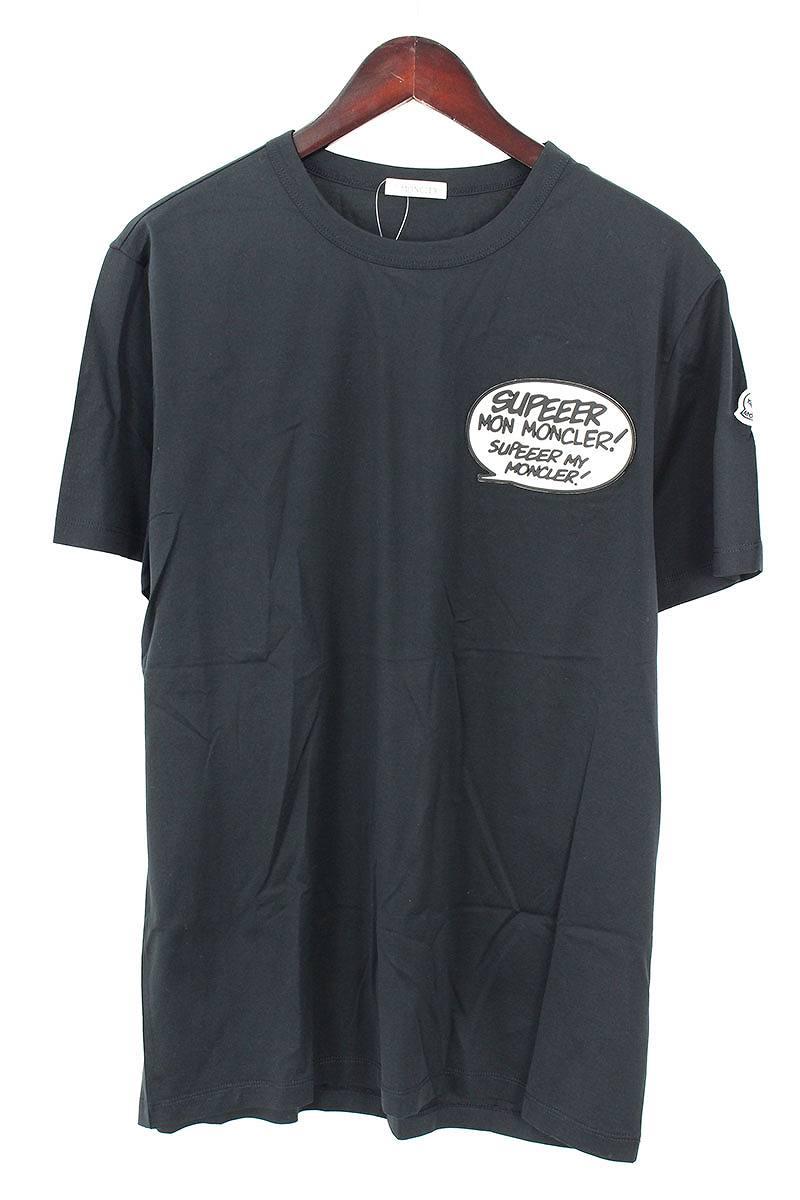 モンクレール/MONCLER SUPEEERパッチストレッチTシャツ(L/ブラック)【BS99】【メンズ】【101181】【中古】[5倍]bb81#rinkan*S