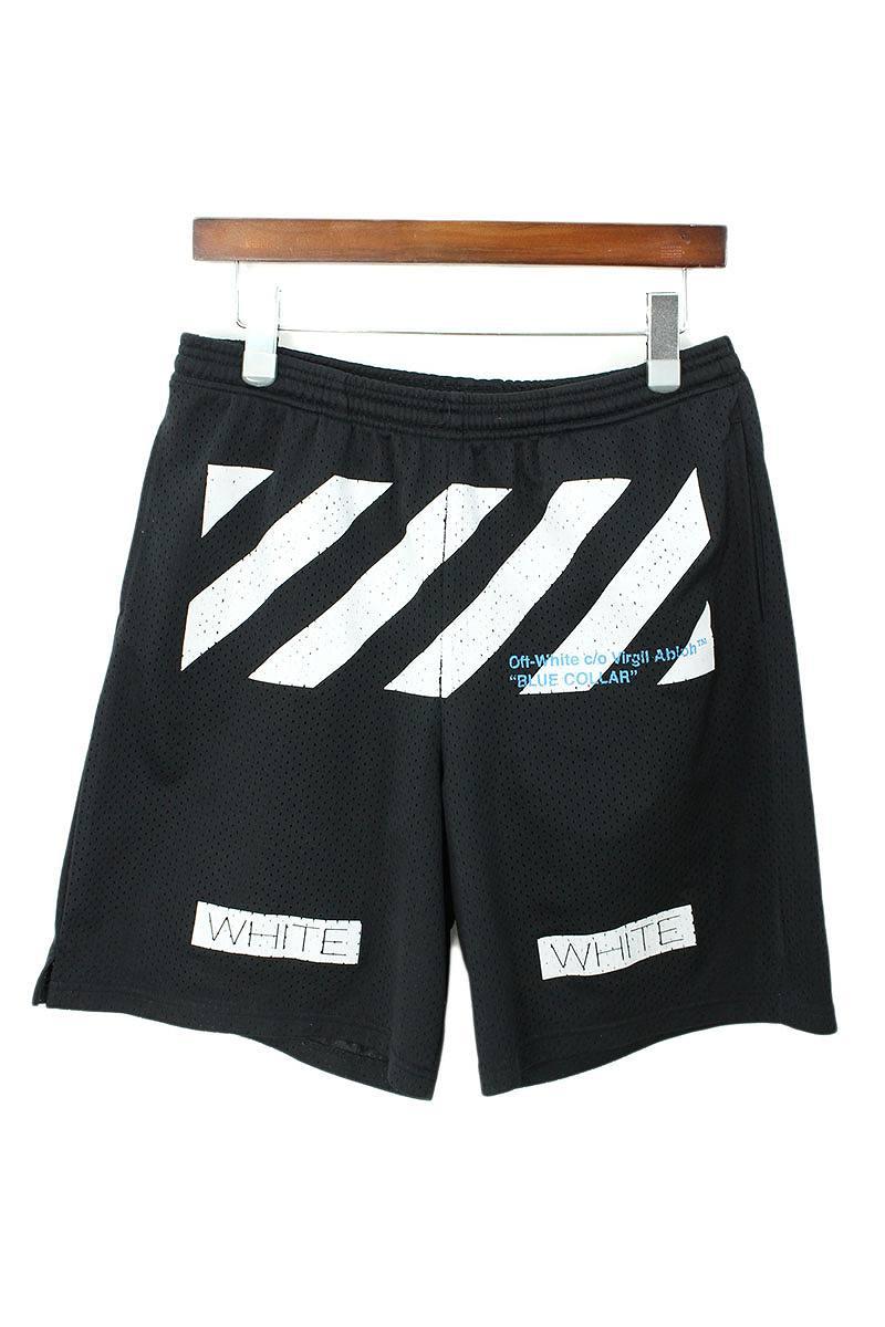 オフホワイト/OFF-WHITE 【16SS】バイアスプリントメッシュハーフパンツショーツ(M/ブラック)【SB01】【メンズ】【310181】【中古】bb10#rinkan*B