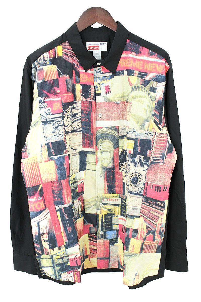 シュプリーム/SUPREME ×コムデギャルソンシャツ/COMME des GARCONS SHIRT 【18AW】【Cotton Patchwork Button Up Shirt】バックロゴフォトグラフィックパッチワーク長袖シャツ(L/ブラック×レッド)【SB01】【メンズ】【410181】【中古】[5倍]bb154#rinkan*S