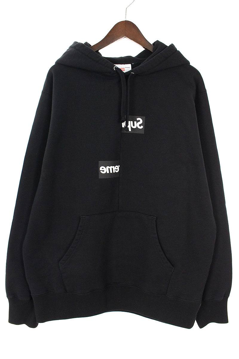 シュプリーム/SUPREME ×コムデギャルソンシャツ/COMME des GARCONS SHIRT 【18AW】【Split Box Logo Hooded Sweatshirt】ボックスロゴプルオーバーパーカー(L/ブラック)【SB01】【メンズ】【510181】【中古】bb154#rinkan*S