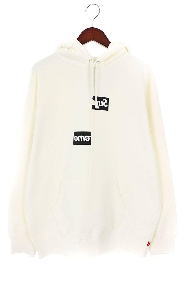 シュプリーム/SUPREME ×コムデギャルソンシャツ/COMME des GARCONS SHIRT 【18AW】【Split Box Logo Hooded Sweatshirt】スプリットボックスロゴパーカー(L/ホワイト)【HJ12】【メンズ】【510181】【中古】bb154#rinkan*S