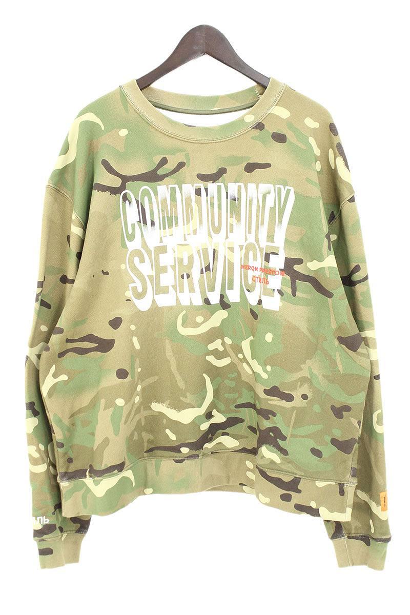 ヘロンプレストン/HERON PRESTON 【 Community Service Sweatshirt】フロントプリントカモフラスウェット(L/グリーン調×ホワイト)【FK04】【メンズ】【320181】【中古】【準新入荷】bb81#rinkan*A